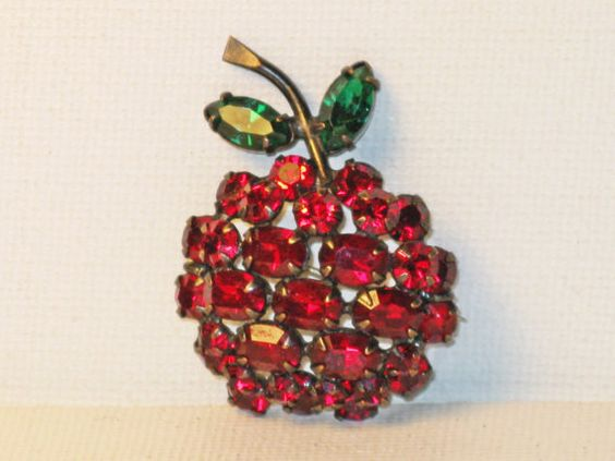 Vintage Red and Green Rhinestone Cherry by delightfullyvintage
