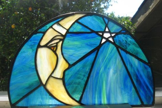 Star and moon Stained glass Night light AND by GlassyART on Etsy,