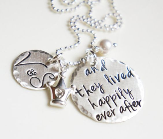 Personalized Couples Wedding Keepsake Necklace Bride Bridal Initials Happily Ever After Fairy Tale Jewelry