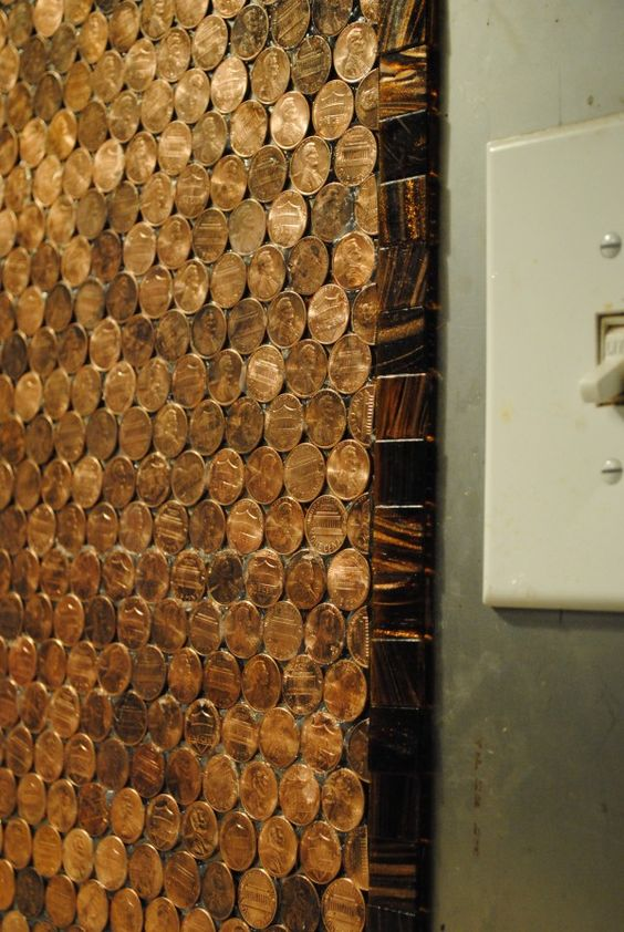 pennies kitchen backsplash and penny backsplash on pinterest