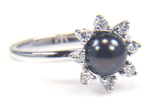Cultured Black Pearl Diamond Cluster Ring