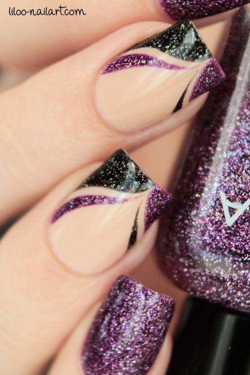 Purple and Black Shimmer Nail Art by Liloo #nails #beautyintheBAG #nailart