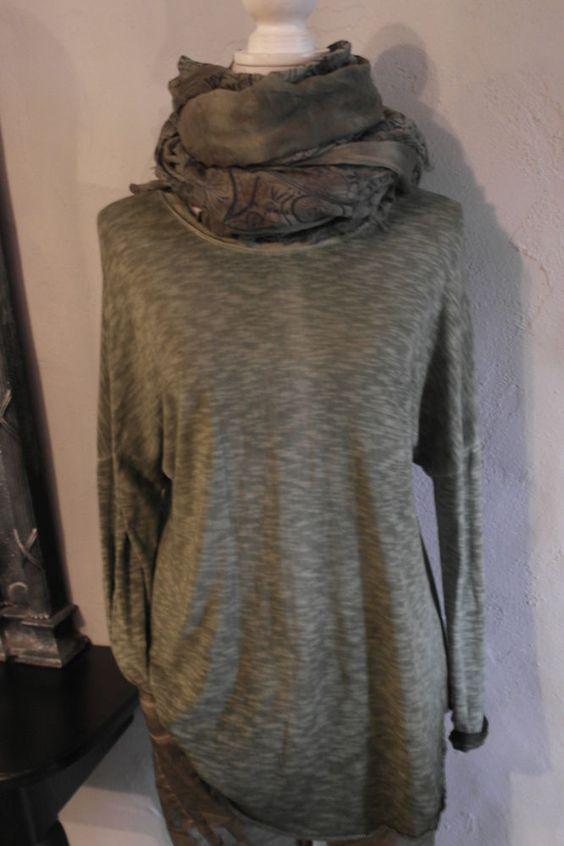 D&F Pulli batik Knöpfe hinten khaki grün Pullover Shirt Sweatshirt  38 - 42