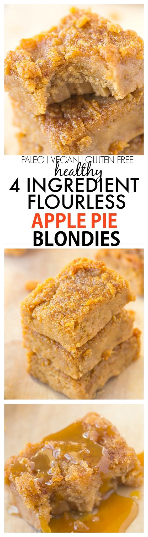 Healthy Four Ingredient Flourless Apple Pie Blondies recipe- A quick, easy and delicious recipe with 4 ingredients- NO white flour, white sugar, butter or oil! {vegan, gluten free, refined sugar free and paleo}: