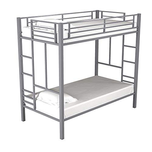 Bunk Beds Twin Over Twin Black Convertible Sturdy Metal Frame With Mattress For Kids Metal Bunk Beds Bed Frame With Mattress Bunk Beds