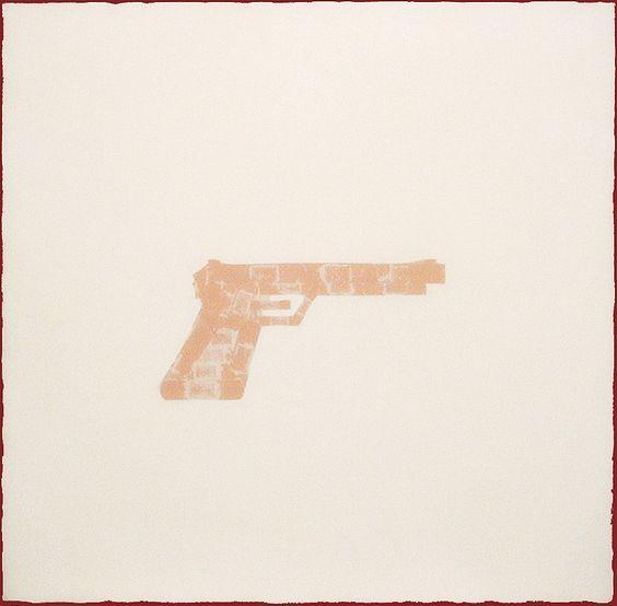 FLESH GUN (2002) •Resin, acrylic, Band-aid imprint on wood • www.lucywhite.com