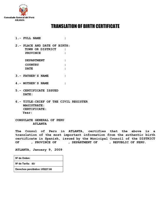 Spanish Death Certificate Templates Translation Marriage Template