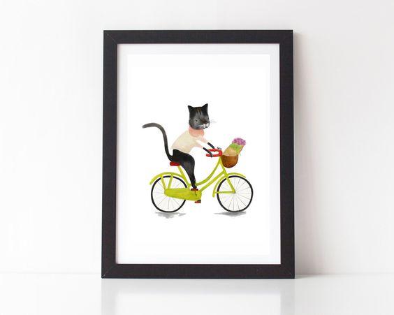 Chat sur vélo Cyclisme, tirages d'Art de chat, chat Funky cadeau, crèche de l'Art, impression de l'Illustration chat, cadeau bébé, Animal Prints, décor de chambre d'enfants par lauraamiss sur Etsy https://www.etsy.com/ca-fr/listing/458763362/chat-sur-velo-cyclisme-tirages-dart-de