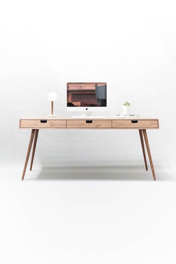 Desk In Walnut Oak Wood Bureau Dressing Table Office Desk Mid Century Tantik Furniture Office Desk Home