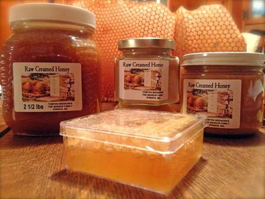 Creamed Honey, Tomten BeeWorks: Also known as Canadian honey, it is 100 percent raw. This honey can be consumed with tea, oatmeal, or by the spoonful.: 100 Percent, Tomten Beeworks, Artisanal Products, Eastern Massachusetts, Creamed Honey, Honey Tomten, Percent Raw