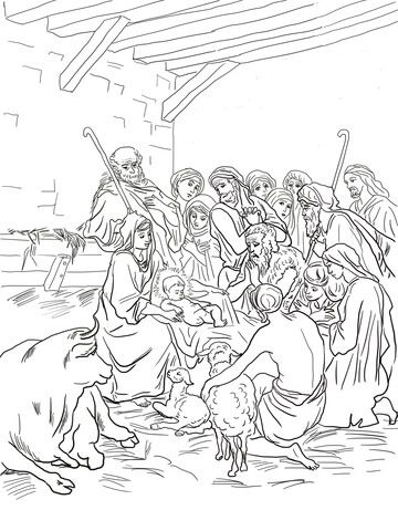 nativity scene with holy family shepherds and animals coloring page coloring pages holiday. Black Bedroom Furniture Sets. Home Design Ideas