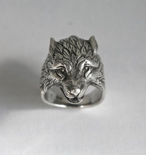 wolf head ring, Ring for man, Wolf ring, Bikers ring, animals ring