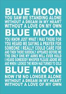 Personalised Favourite Football Song Chant Man City Blue Moon Typography Quote