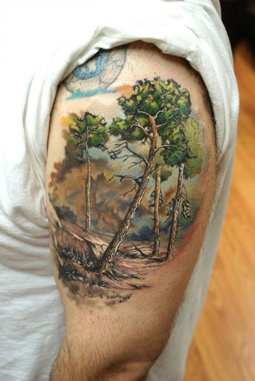 Incredibly realistic arm tat of a desolate forest. Everything is painted with soft and vivid colors.