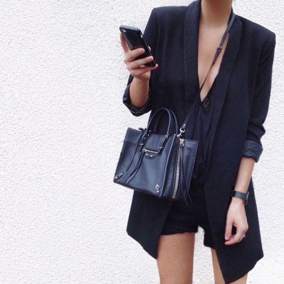 All black / and that Balenciaga bag