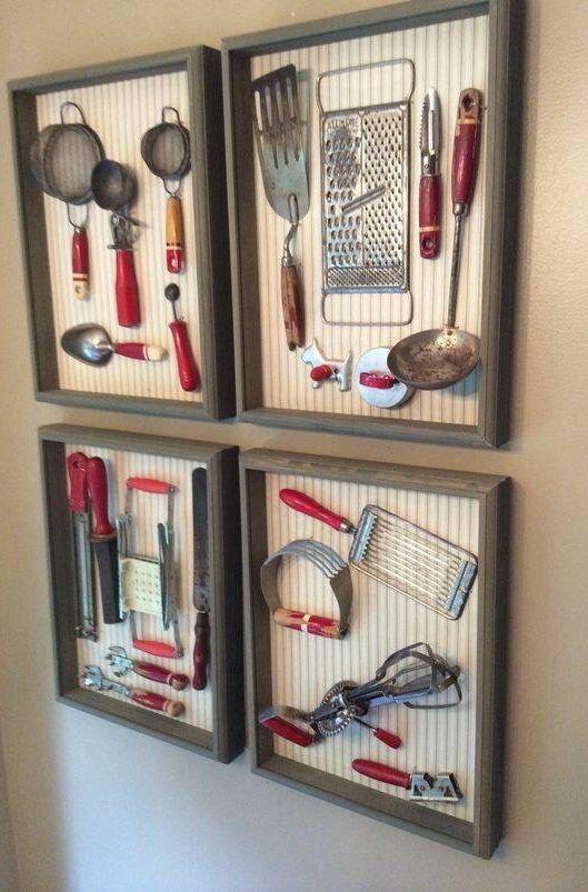 Framed vintage kitchen utensils | Vintage | Decor, Home ...