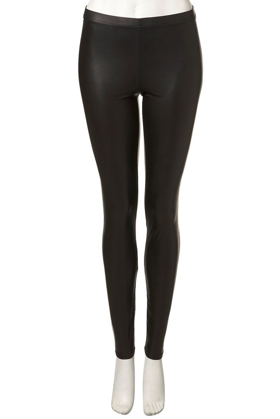 Leather look leggings @ Topshop