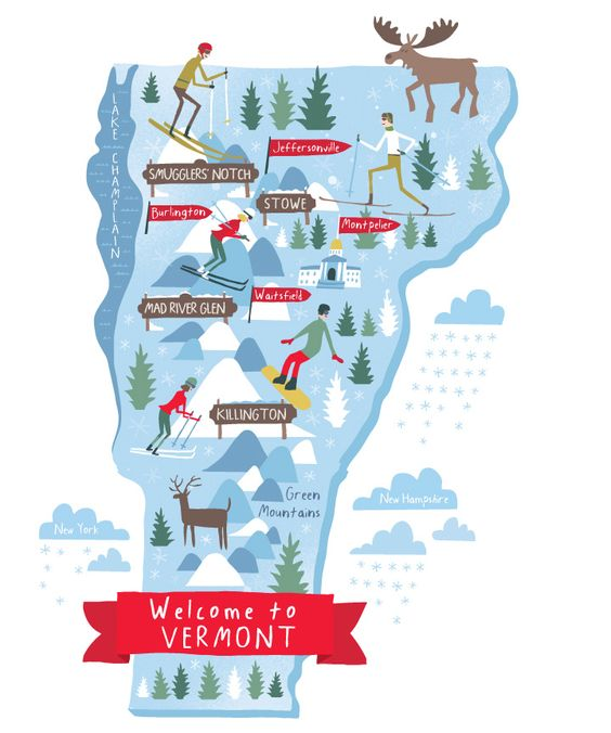 Illustrated Ski Vermont map for Endless Vacation magazine by Nate Padavick