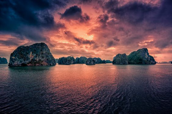 Sunrise over Halong Bay, Vietnam by hessbeck-fotografix