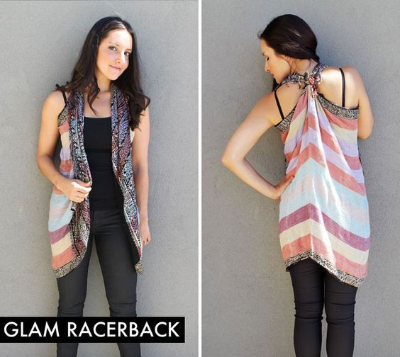 Fold your scarf in half. Tie one folded corner with one end corner, and you magically have a racerback vest