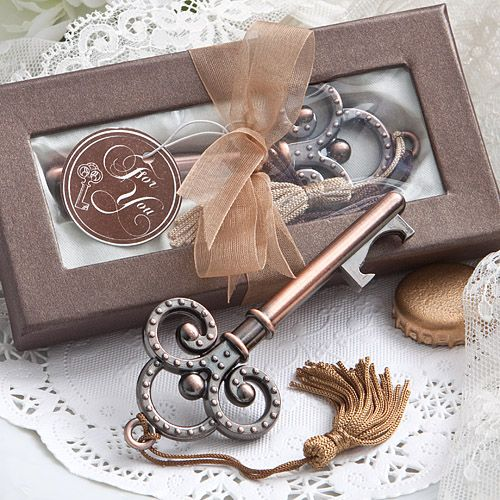 Vintage Skeleton Key Bottle Opener packaged in a box with window so the guest can see their lovely favor without opening the box.  A great idea to add to your Vintage decor.