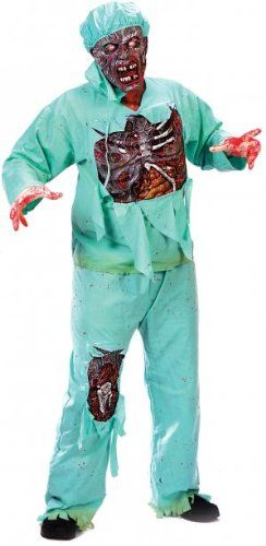FunWorld Mens Zombie Doctor, Light Green, One Size, Lab coat, shirt with fully detailed, rotted chest attached, pants with rotted knee exposed, rotting zombie mask, surgical mask, cap and latex gloves. Standard Adult size fits 140-200lbs., #Apparel, #Men