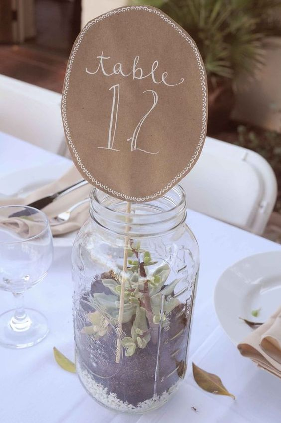 mason jar terrarium table numbers