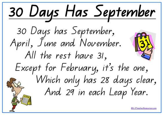 Monthly Calendar Rhyme : Days has september poem with cut out sentence