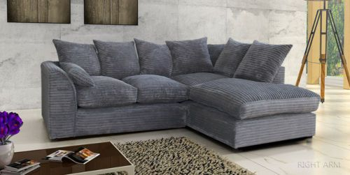 Details About Jumbo Cord Corner Sofa In Grey Black Brown A Footstool Or 2 3 Seater Swivel In 2020 Cheap Sofa Beds Corner Sofa Sofa