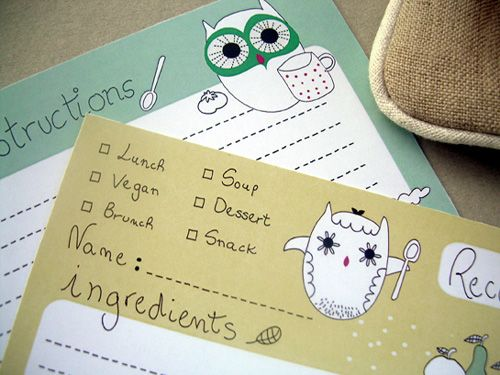 owl recipe cards