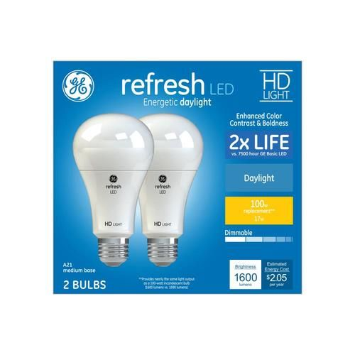 Ge Refresh 100 Watt Eq A21 Daylight Dimmable Led Light Bulb 2 Pack At Lowes Com In 2020 Dimmable Led Lights Dimmable Led Led Light Bulb
