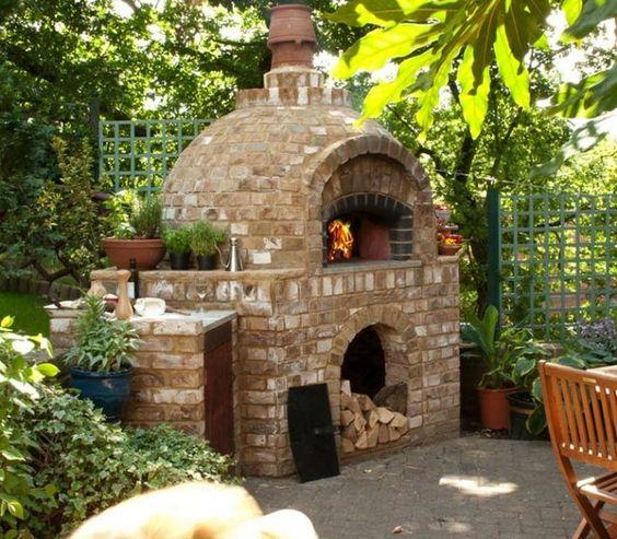 Ziegel Wand Kohlen Pizzaofen Holz Bodenbelag selber bauen  Garten ...