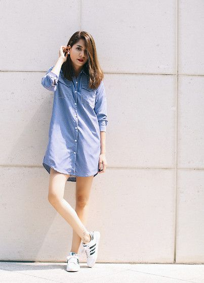 Polkaholics Kris Shirtdress, Adidas Superstar Original: