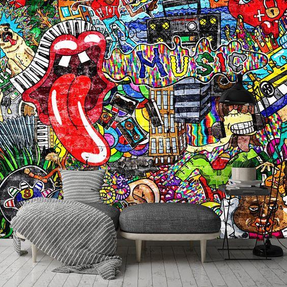 Removable Wallpaper Mural Peel Stick Self Adhesive Wallpaper Etsy Mural Wallpaper Graffiti Murals Graffiti Wallpaper