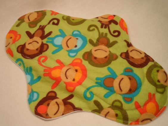 8 Zoll regelmäßig zu schweren Tuch Menstruations pad.Robert Kaufman Stadt Zoologie Monkeys Wilde Flanell, Frottee, PUL.
