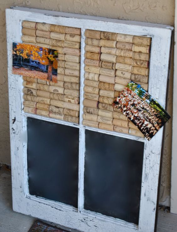 old window paint with caulkboard black paint and use glue gun to cover with corks