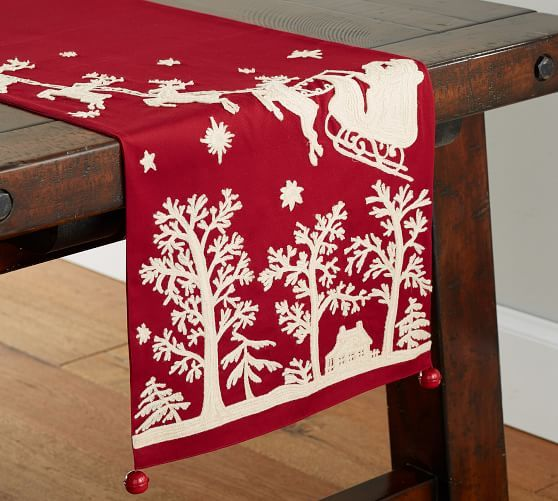 plaid runner dining  runner lanterns tablescape Upholstery weight lined runner Table runner embroidered winter scene table runner