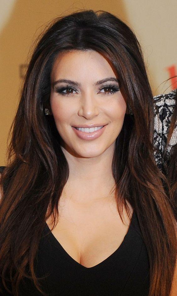 Kim Kardashian black hair with brown highlights