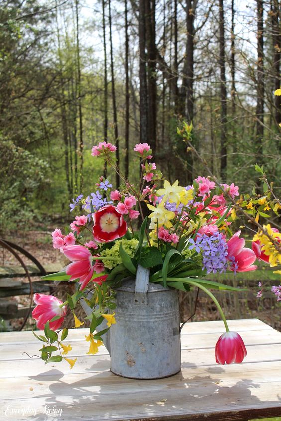 Spring Flowers + Vintage Watering Can – Monday Morning Blooms
