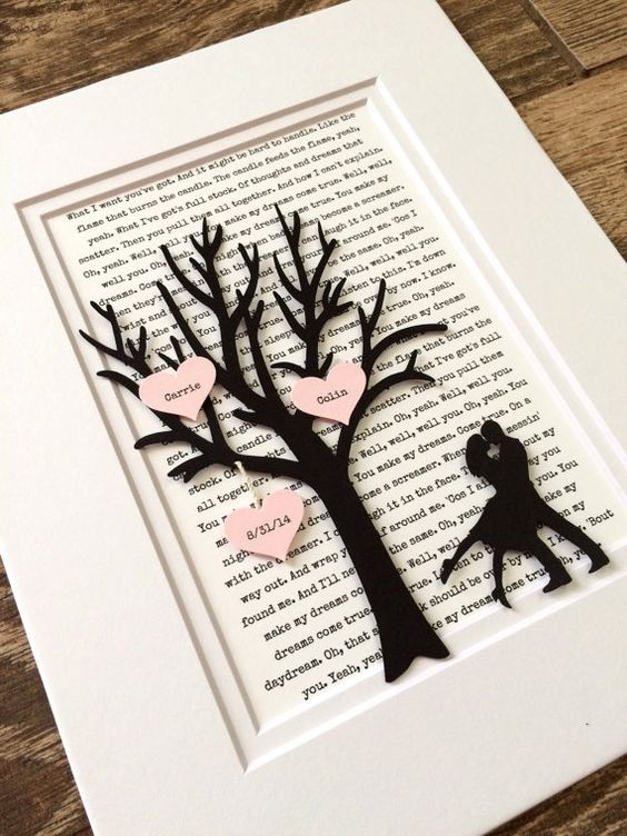 Personalized first year anniversary gift tree paper for First gift for boyfriend birthday