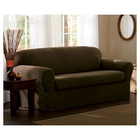 Maytex Stretch 2 Piece Reeves Slipcover Loveseat - Chocolate : Target