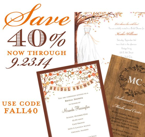 ***DON'T MISS OUT! SAVE TODAY!*** SAVE 40% NOW THROUGH THE FIRST DAY OF AUTUMN 9.23.14 - USE CODE FALL40.