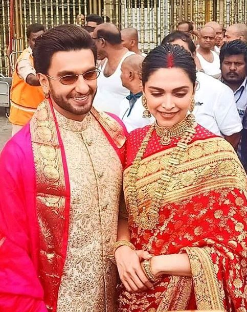 Deepika And Ranveer From Their Visit To The Venkateshwara Temple For Their 1st Wedding Anniversary Bollywood Wedding Indian Wedding Outfits Deepika Padukone