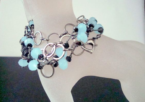 Hand Knotted Wrap Bracelet  Aquamarine and Black by CrookedCrystal, $27.99