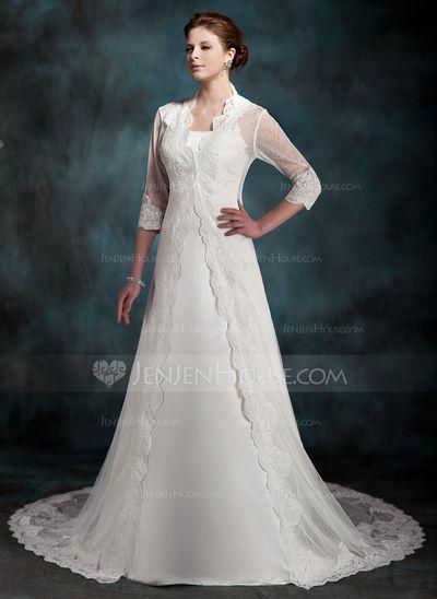 Corte A/Princesa Cola capilla Satén Vestido de novia (002011517)