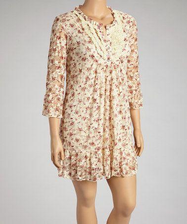 Another great find on #zulily! Beige & Pink Floral Dress - Plus by Lady Noiz #zulilyfinds