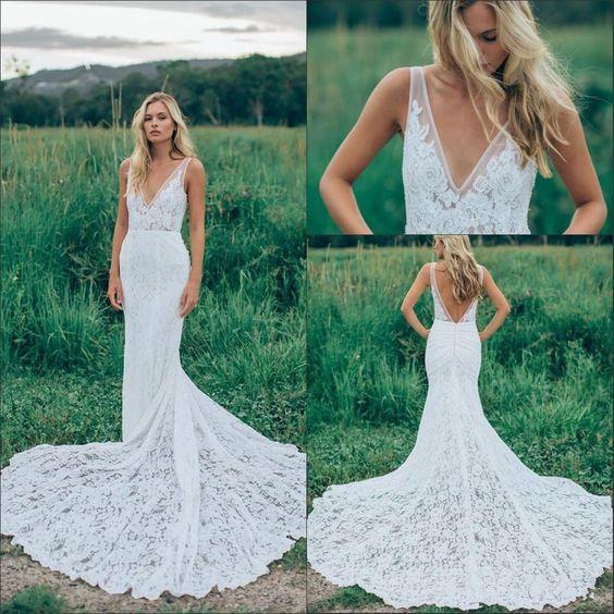 Sexy open back mermaid wedding dresses inbal dror bohemian for Bohemian mermaid wedding dress