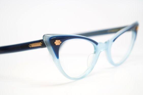 2 tone blue cat eye glasses vintage: