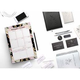 Bloco Desk Planner - Planejador Semanal Floral Preto