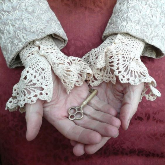 Lace Crochet Cuffs Ecru White Cotton  Pearls Wedding Romantic Custom Made